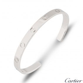 Cartier White Gold Plain Love Cuff Bracelet Size 20 B6032520